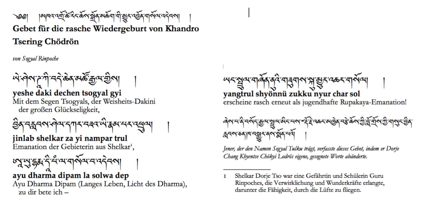 Gebet zur raschen Wiedergeburt von Khandro Tsering Chödron